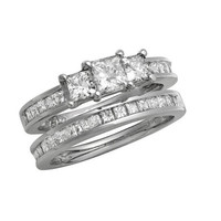 1 CT. T.W. Princess-Cut Diamond Three Stone Bridal Set in 14K White Gold - View All Rings - Zales
