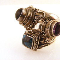 Poison Rings Sterling Silver Amethyst Turquoise Onyx Etruscan Set of 3