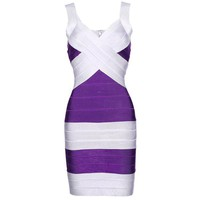 Bqueen Purple and Silver Bandage Dress H008E izM