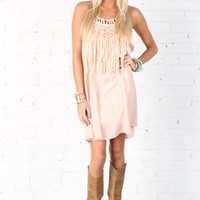 Fringe Rage Dress Blush