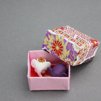 elephant figurines in origami box polymer clay totem tiny elephants white purple red
