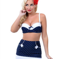(PRE-ORDER) Navy & White Liz High Waist Bikini Skirt Bottoms