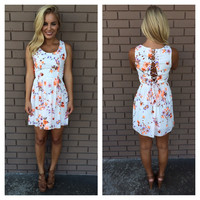 White Flower Tie Back Spring Dress