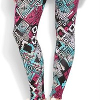 jade and magenta tribal print legging
