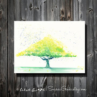 Summer in Green, Green Tree, Summer, Giclee Print, 8x10, Watercolor Painting by Suisai Genki, Green, Gold, Yellow, Helio Green