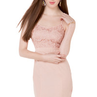 Lace Bust Spaghetti Strap Midi Dress in Champagne