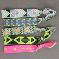 Elastic Hair Ties : Set of 5 Elastic Ribbon Hair Ties, Ponytail, Top Knot, Galaxy, Tie Dye, Fox Print, Arrow Print, Neon, Fun