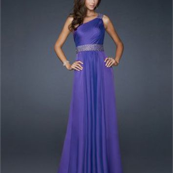 One shoulder Beaded Waistband Shoulder Strap Chiffon Prom Dress PD1772