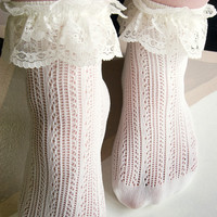 Crochet Net Lace Top Anklet - Sock Dreams