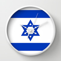 The National flag of the State of Israel Wall Clock by Bruce Stanfield