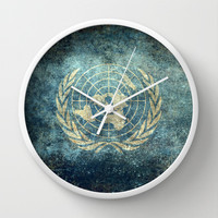 The United Nations Flag - Vintage version Wall Clock by Bruce Stanfield