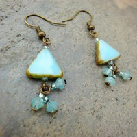 Turquoise Sea Blue Earrings Antique Brass Triangle Picasso Cluster | LittleApples - Jewelry on ArtFire