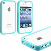 myLife (TM) Sky Blue Slim Bumper (Metal Buttons - 360 Degree Side Protector) Gel Flex Case for the iPhone 4/4S (4G) 4th Generation Touch Phone (Soft Silicone Bumper Frame + Rubberized All Around Shock Absorbing Armor Skin + Lifetime Warranty + Sealed Insid