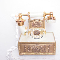 Beautiful Antique White and Gold Regency French Rotary Dial Telephone, In Working Condition