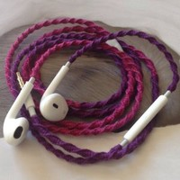 MyBuds Wrapped Tangle-Free Earbuds for iPhone | Deep Rich Fuchsia & Purple | with Microphone and Volume Control