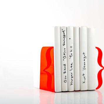 Bookends - Brackets (neon red) - laser cut for precision thick enough to hold a bunch of books.