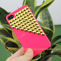 Golden Studs Hard Case For Apple Iphone 4g/4s by handworld