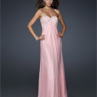 Empire Sweetheart With Beaded Bust Gathering Chiffon Prom Dress PD1792