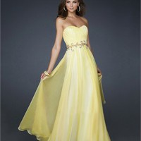 Princess Strapless Pleated with Beaded Waistband Chiffon Prom Dress PD1791