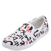 LOVE PRINT CANVAS SLIP-ON FLATS