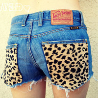 Denim Shorts with Cheetah Print Pockets Size by UnraveledClothing