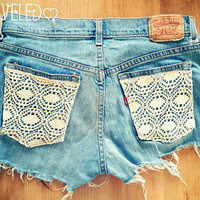 Lace pocket distressed shorts Size by UnraveledClothing on Etsy