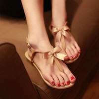 Bowtie Toe-post Flat Sandals Color Apricot Size US 5.5