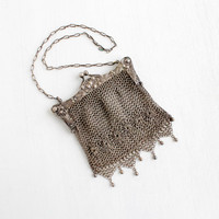 Antique German Silver Art Nouveau Purse - Victorian Edwardian Mesh Chain Mail Flower Repousse Early 1900s Bag