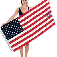 Monogrammed American Flag Beach Towel   Personalized at Marley Lilly