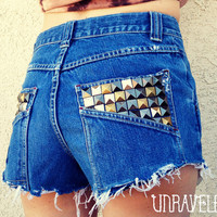 High Waist Shorts Studded Size SMALL by UnraveledClothing on Etsy