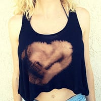 Crop Top Tank Heart Print Boho Hippie M by UnraveledClothing