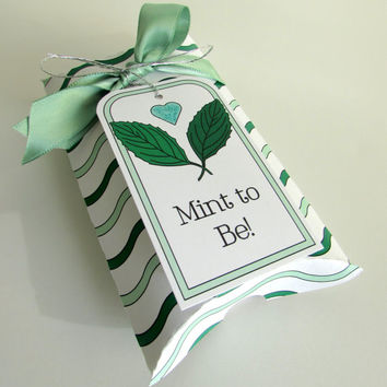 Mint Bridal Shower Favor Box and Tag Mint to Be Wedding Favour Box Kit Pillow Box Wedding Favor Mint Green Wedding Theme Mint Leaf Favor Tag