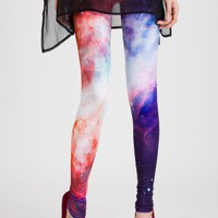Galaxy Print Leggings in Red - Back in stock - Retro, Indie and Unique Fashion
