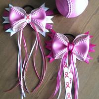 Breast Cancer Awareness Softball Bow