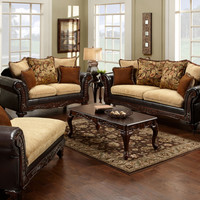 2 Pc. Doncaster Classic Light Mocha And Espresso Upholstered Sofa Set - Made in the USA
