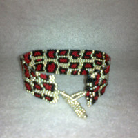 Red ANIMAL PRINT BRACELET by jewelryandmorebyjb on Etsy