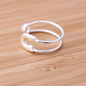 pin ring, adjustable in silver | bythecoco