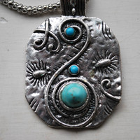 Tibetan Traditional Style Silver and Turquoise Oval Pendant and Necklace - Necklaces & Pendants