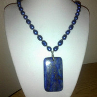 Blue LAPIS Pendant Necklace With FRESHWATER by jewelryandmorebyjb