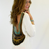 Sun Flare Ivory Open Crochet Back Top
