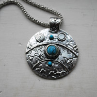 Tibetan Traditional Style Silver and Turquoise Pendant and Necklace - Necklaces & Pendants