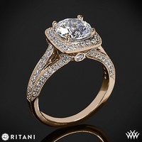 18k Rose Gold Ritani Masterwork Cushion Halo Vaulted Milgrain Diamond Engagement Ring