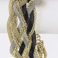 Black & Gold Braided Chain Bracelet