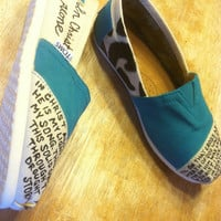 In Christ Alone demask custom painted TOMS by tailoredhope on Etsy