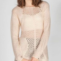 DEX Crochet Inset Womens Hi Low Sweater