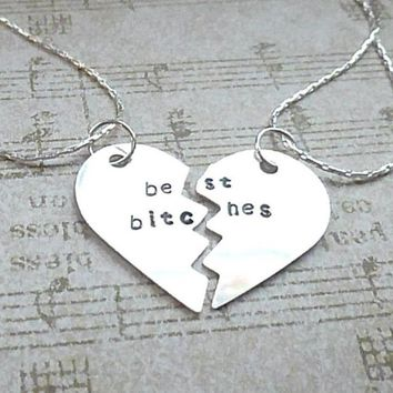 Best Bitches - Hand Stamped Best Friends Necklace Set
