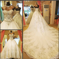 YZ Luxury Crystal Bright Diamond Sexy Fancy Wedding Dress VIVII