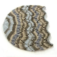 Gray and brown laced beanie, cool wool hat for kids, 1-6 year old girls, READY TO SHIP