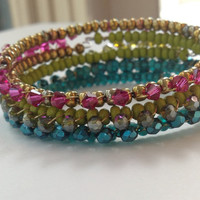 Fuchsia Swarovski Crystal wire Wrapped on Metallic Bronze Czech Glass Wrap Bracelet Stacking