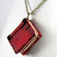 Beloved Red Book Necklace jewelry handmade - NeverlandJewelry